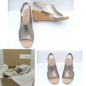 New Clarks Lafley Joy wedge slingback sandal shoes